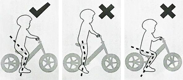 Rätt storlek balanscykel - barnets knävinkel